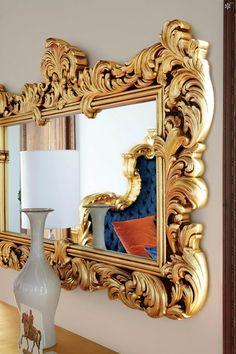 Silik & Creazioni Foyer Mirror, Gold Framed Mirror, Metal Mirror, Wall Mirror, Home Confort, Dressing Table Design, Vintage Mirrors, Wooden Plates, Beautiful Mirrors
