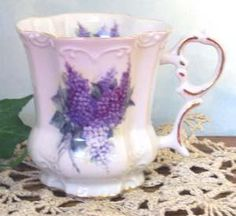 Lilac Bouquet Porcelain Victorian Mugs - Set of 2 - Fielder Keepsakes - Made In the USA Glass Tea Cups, China Tea Cups, China Mugs, Mugs Set, Tea Mugs, Victorian Tea Sets, Pretty Mugs, Antique Dishes, Employee Gifts