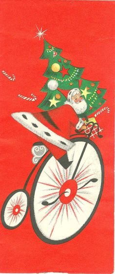 Vintage Christmas Card:  Santa riding large Two-Wheel bike with Christmas Tree