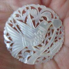 Large Vintage Bethlehem Hand Carved Openwork Piece, Bird on Branch