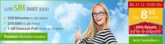 winSIM Smart 1000 für 8,95€ ohne Laufzeit http://www.simdealz.de/o2/winsim-smart-1000-aktion/