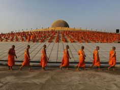 April 22, 2012: Buddhist monks pray while promoting world peace at the Wat Phra Dhammakaya temple in Pathum Thani province, north of Bangkok.