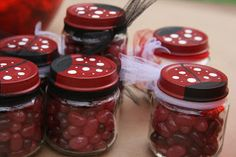 Ladybug Candy Favors | Party Favors - baby food jars with painted lids and tule ribbons ...