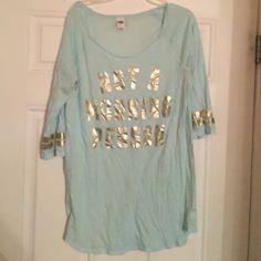 "Victoria's Secret PINK sleep shirt Pale blue VS PINK sleep shirt. Great condition. Writing says ""Not a morning person"""" PINK Victoria's Secret Intimates & Sleepwear Pajamas"