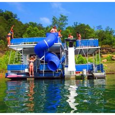House boat with water slide, hell yes.