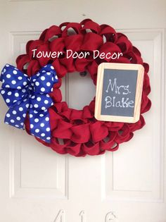 End of year Teacher gift - Red Faux Burlap Wreath