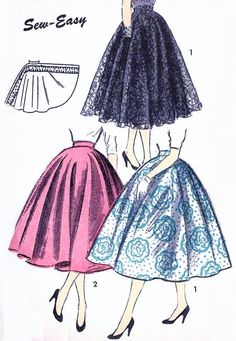 BEAUTIFUL Full Circle Skirt Pattern ADVANCE 6688 Super Easy To Make Only 2 Pieces and Waistband, Waist 24 Vintage Sewing Pattern-Authentic vintage sewing patterns: This is a fabulous original dress making pattern, not a copy. Because the sewing Dress Making Patterns, Vintage Dress Patterns, Vintage Skirt, Clothing Patterns, Retro Mode, Vintage Mode, Vintage Pink, Vintage Style, 1950s Style