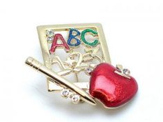 SCHOOL TEACHER TEACHERS APPLE ABC ALPHABET PENCIL BROOCH PIN