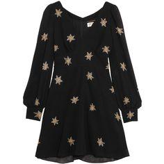 Saint Laurent Embellished silk-georgette mini dress ($4,170) ❤ liked on Polyvore featuring dresses, black, short a line dresses, embellished mini dress, embellished dress, beaded cocktail dress and lbd dress