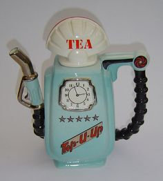 Petrol Pump Sunshine Ceramics - This novelty teapot features a blue Petrol Pump by Sunshine Ceramics 1980's, early Cardew.