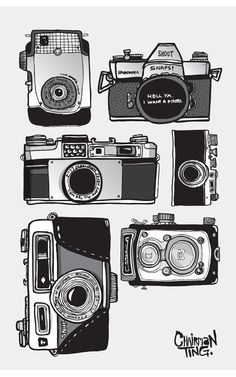 Vintage Camera Drawing | vintage camera collection set illustrated