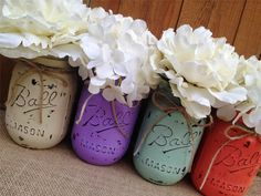 Pint Painted Mason Jars,Vintage,Rustic Home Decor,Wedding Centerpieces, Shabby Chic Painted Mason Jars,French Country,Baby Bridal Shower by LacyBellesBoutique on Etsy https://www.etsy.com/listing/195352027/pint-painted-mason-jarsvintagerustic