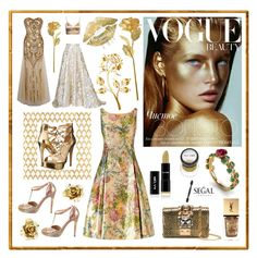 """""""Golden rose"""" by beanpod ❤ liked on Polyvore featuring Barclay Butera, GUESS, Adrianna Papell, Yves Saint Laurent, GEDEBE, Chanel, Oscar de la Renta, Lela Rose and Oliver Gal Artist Co."""