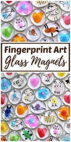 Invite children to use their fingertips and thumbs to make Fingerprint Art Glass Magnets. Thumbprint art glass magnets are an easy craft for kids and a simple homemade gift idea kids can make for Mother's Day, Father's Day, Birthdays and Christmas. #RhythmsofPlay #KidsCraft #FingerprintArt #GiftIdea #HomemadeGift #DIYGlassMagnets #MothersDayGift #FathersDayGift