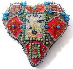 beaded, embroidered patchwork heart