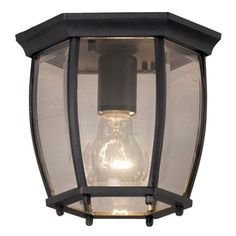 Since our old light was cracked, dirty & rusty, we decided to go with this one...and at $15.98, it was a steal at Lowe's.    Portfolio 7.68-in W Matte Black Outdoor Flush-Mount Light