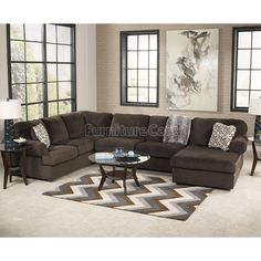 Plush contemporary 3-piece sectional with left-facing chaise. Find ...