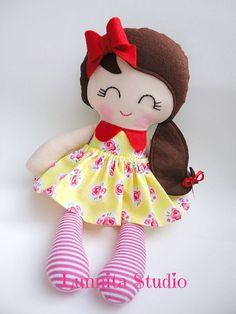 Handmade cloth doll,birthday gift,Ragdoll,Cloth doll,Fabric doll...Sunday picnic..Eco-Friendly Doll... READY TO SHIP