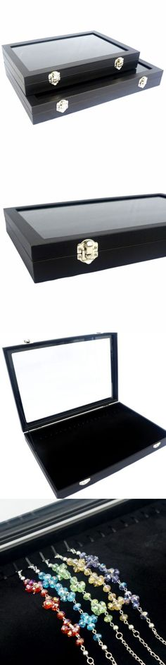 Bracelet 168160: Black Glass Top Jewelry Display Box Case For Bracelet / Necklace / Chain / Watch BUY IT NOW ONLY: $33.99
