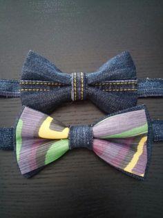 Denim e seta per papillon estrosi e giovanili. Papillon fatto a mano in pura seta di Como e denim:) Uomo, moda uomo, man, men, fashion, bowties, ties, cravatte, cravattino, farfallino, accessori, accessorize