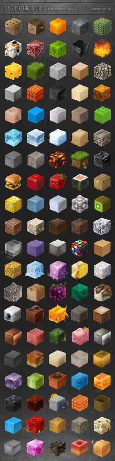 100 texture studies by =tanathe on deviantART. An amazing artist with awesome art.