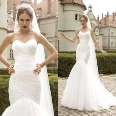 Pure-White-Simple-Tulle-Wedding-Dresses-Mermaid-2015-Elegant---38.jpg (800×800)