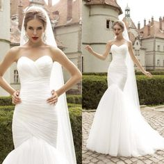 Wholesale Wedding Dresses - Buy Pure White Simple Tulle Wedding Dresses Mermaid 2015 Elegant Sweetheart Ruffled Bridal Gowns Sweep Train Charming Garden Wedding Gown New WZ, $149.73 | DHgate.com