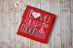 I Love You to the Moon and Back Embroidered WHITE by Whitesuggar,