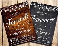 Farewell Party Invitation Farewell Invitation by HappyPartyStudio Cowboy Party Invitations, Retirement Party Invitations, Retirement Parties, Rustic Invitations, Graduation Invitations, Wedding Invitation Templates, Invitation Design, Wedding Invitations, Retirement Countdown