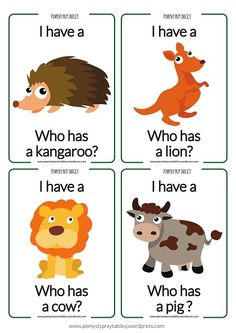 """""""i have...who has..."""" animals 2"""