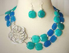 Blue Green Jade Statement Necklace Aqua Royal by laiseoriginals, **SOLD**