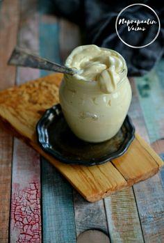 Itse tehty majoneesi (G, M) Pudding, Desserts, Blog, Recipes, Tailgate Desserts, Deserts, Custard Pudding, Recipies, Puddings