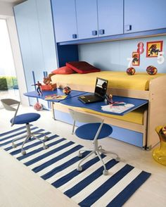 Blue Kids Bedroom Idea With Saving Space Bed and Folding Study Desk and Round Chairs and Blue Closet