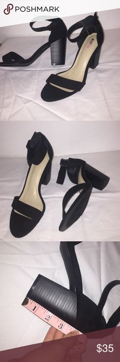 Just Fab Black Heels size 8 BRAND NEW NEVER WORN. JUSTFAB black heels- size 8.5. They have a chunky heel- measurement shown. They have an adorable ankle strap, and are very stylish, brand new shoes! I bought them for senior pictures and they are slightly too big. JustFab Shoes Heels