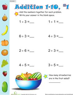 Give your first grader's math skills a boost with these delightful worksheets that ask her to complete all kinds of single-digit addition problems.