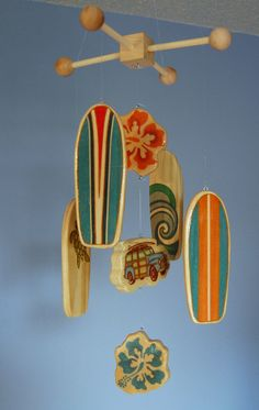 Surfboard Baby Mobile - Orange - Woody Surf Boards and Car - Surf or Beach Baby Nursery. $75.00, via Etsy.