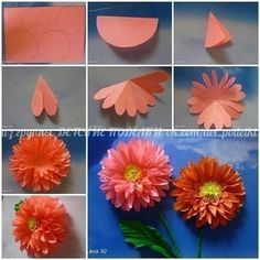 DIY Pictorial Origami Flowers flowers diy craft handmade step by step tutorial projects origami Tissue Paper Flowers, Origami Flowers, Diy Flowers, Fabric Flowers, Flower Paper, Dahlia Flowers, Origami Hearts, Dahlias, Paper Flower Centerpieces