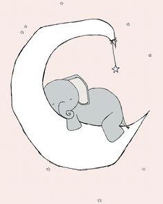 Elephant Nursery Art -- Pink Grey -- Nursery Decor, Elephant Art Print, Baby Elephant Moon and Stars Dream -- Children -- Kids Wall Art Elephant Nursery Art, Grey Elephant, Little Elephant, Disney Elephant, Moon Nursery, Kids Wall Decor, Art Wall Kids, Nursery Decor, Art Kids