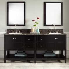"""72"""" Everett Vanity for Rectangular Undermount Sink - Black"""