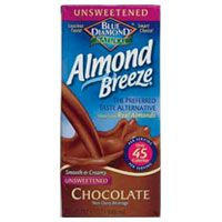 Blue Diamond Natural Almond Breeze Unsweetened Non-Dairy Beverage—Chocolate    Delish chocolate-milk flavor with no chalky aftertaste (and without all the sugar of other chocolate milks). Pour into coffee for a quick mochachino or serve cold in a glass with your favorite cookies.    Per 8 oz: 45 cal, 3.5 g fat (0 g sat), 3 g carbs, 180 mg sodium, 1 g fiber, 2 g protein