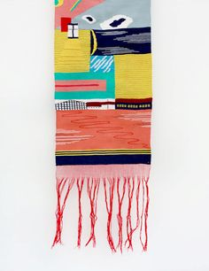 London artist Hannah Waldron exhibited her map weavings titled To Houshi Onsen during the fair at the Rossana Orlandi gallery.