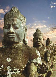 Sculptures of demons of Asia -Angkor Wat, Cambodia #Asia StudentFlights #GoYourOwnWay