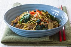 Chilli bean noodles with pork and peanuts recipe, Bite – For those nights when you feel like takeaways this is just as quick and twice as good - Eat Well (formerly Bite) Pork Mince, Peanut Recipes, Asian Soup, Asian Recipes, Ethnic Recipes, Quick Easy Dinner, Bean Paste, Weeknight Meals, Peanuts