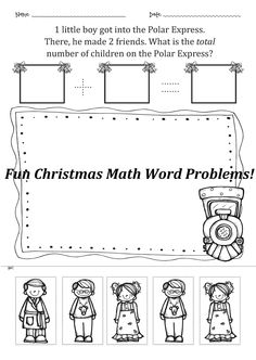 Christmas math cut&paste activities and 20 fun math word problems! $