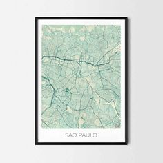 Sao Paulo art posters - City Art Map Posters and Prints