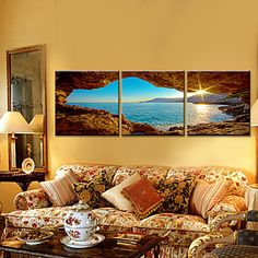 Stretched Canvas Art Landscape to the Sea Set of 3 – USD $ 69.99
