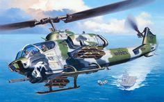 AH-1W Supercobra, cortesía de Revell... El buque parece un clase Tarawa. Más en www.elgrancapitan.org/foro