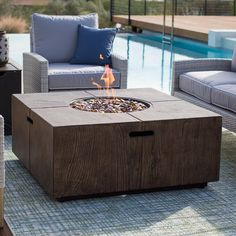 The Belham Living Stockton in. Square Fire Pit will be the focal point of your outdoor conversation space. Constructed from faux wood Envirostone™,. Fire Pit Fuel, Wood Fire Pit, Gas Fire Pit Table, Fire Pits, Fire Pit Furniture, Outdoor Furniture Sets, Furniture Ideas, Fire Pit Essentials, Square Fire Pit