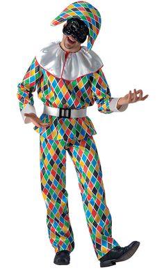 Harlekijn kostuum voor heren: Deze harlekijn outfit voor mannen bevat een overhemd met lange mouwen, een broek, een hoed, een riem en een masker. (Schoenen niet inbegrepen).Deze outfit heeft een satijn effect en heeft een...