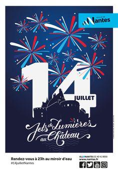 MOSWO   Ville de Nantes   Affiche   Visuel 14 juillet   fête nationale   feu d'artifice   typographie   château   ombre  